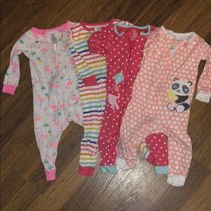 Set of 4 zip up pajamas